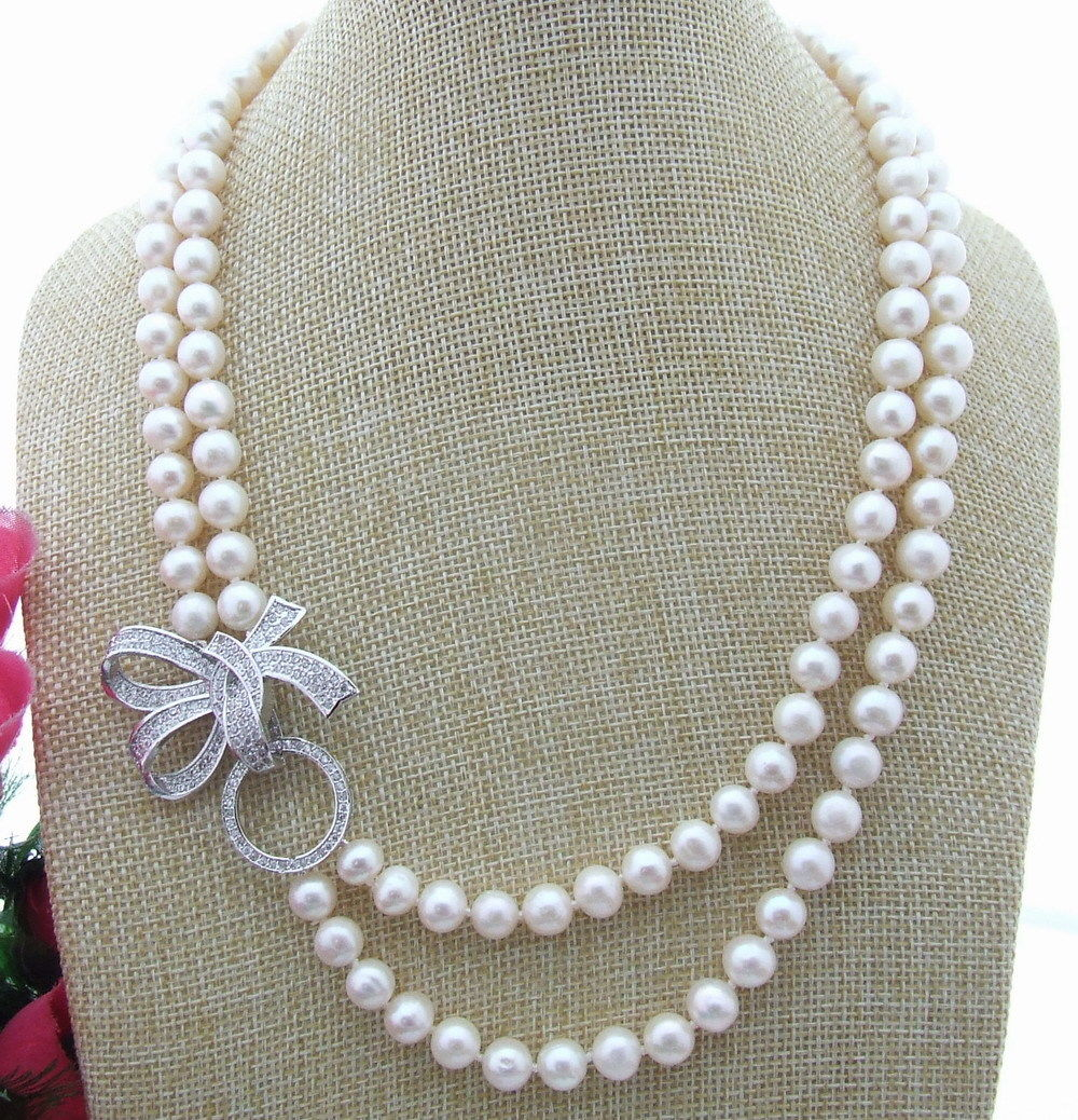 NEW Natural freshwater pearls 2Strds 8-9MM White Pearl Necklace 20NEW Natural freshwater pearls 2Strds 8-9MM White Pearl Necklace 20