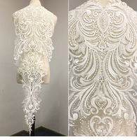 Large Lace Applique with bead Lace Motif, Bridal front lace Appliques Embroidery Floral Lace Trims for Prom Dress Ballgow 1piece