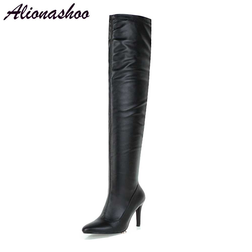 Alionashoo Plus size 48 Women <font><b>Sexy</b></font> <font><b>Fetish</b></font> Dance Nightclub Party Shoes <font><b>Extreme</b></font> <font><b>High</b></font> <font><b>Heel</b></font> Women Over Knee <font><b>Boots</b></font> Thigh <font><b>High</b></font> <font><b>Boots</b></font> image