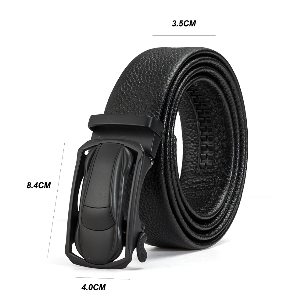 Genuine Lether Mens Belt Luxury Black Automatic Buckle Waist band Straps