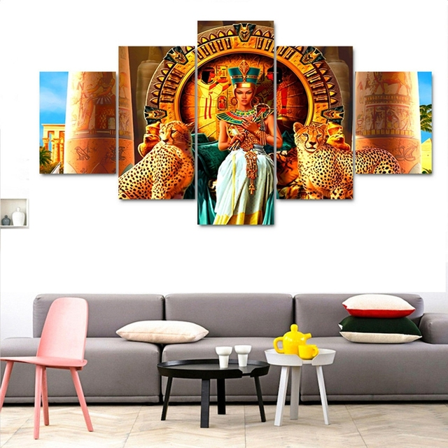 Art Canvas Painting Style Wall Pictures For Living Room 5 Panel The Queen  Of Cleopatra Cuadros