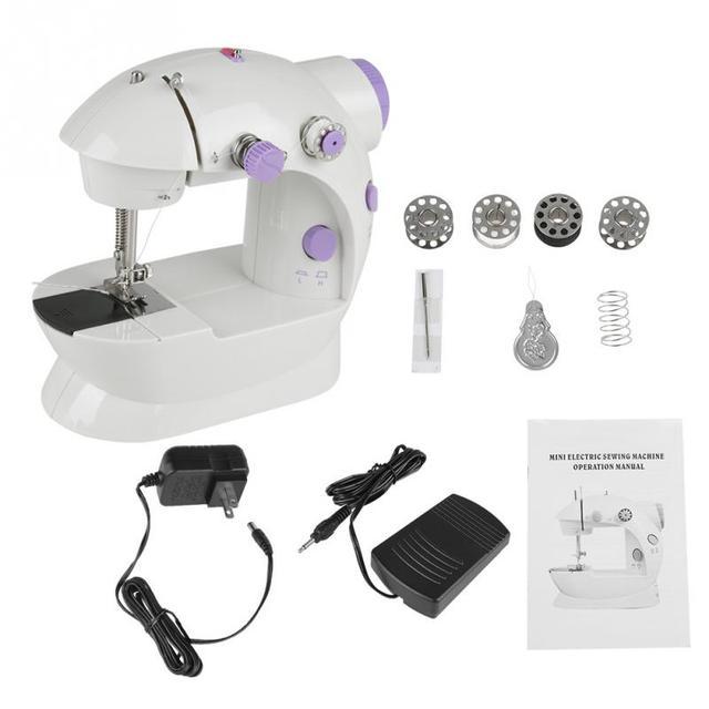 ab94b22644e Desktop Mini Electric Sewing Machines Semi-automatic Portable Hand Held US  Plug Single Sewing Tool DIY Hand Sewing Tools