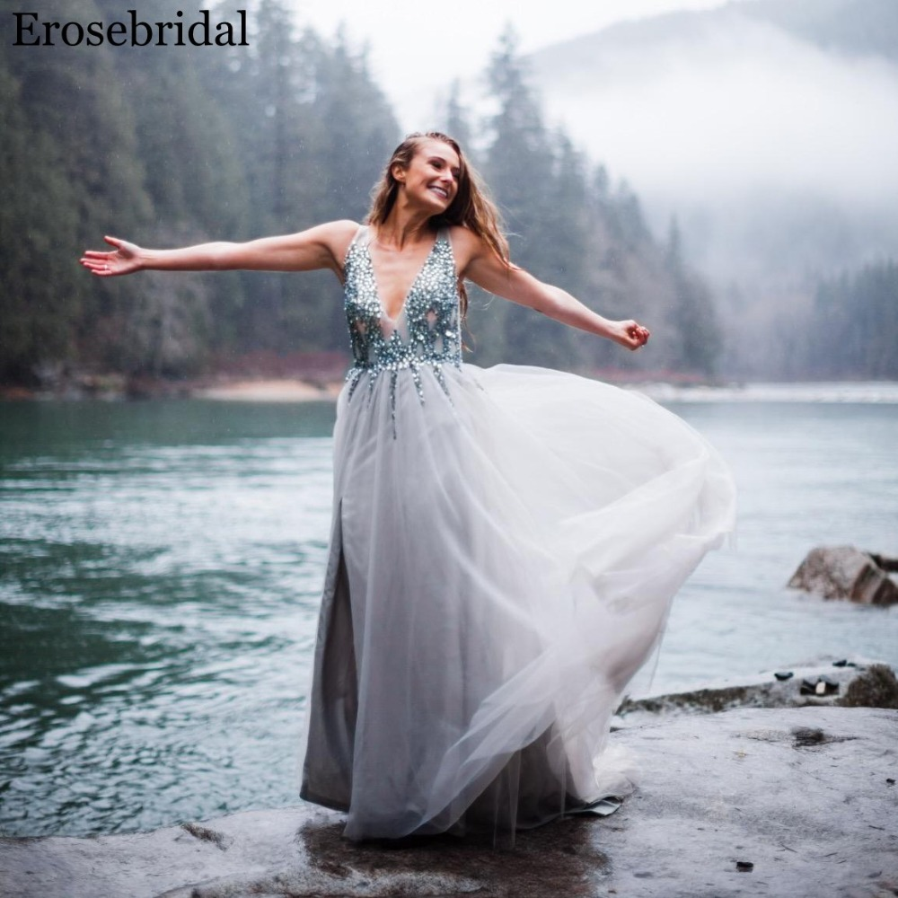 Erosebridal Sexy Front Split Prom Dress 2019 Real Image V Neck Bodice Beading Crystal with Sweep Train Open Back Party Gown in Prom Dresses from Weddings Events