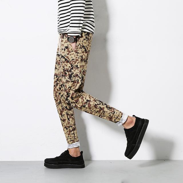 Camuflagem Calças Novo 2016 Calças Dos Homens Casuais Moda Cordão Mens Harem Pants Soltas Calças Compridas Plus Size 5XL-M Venda Quente
