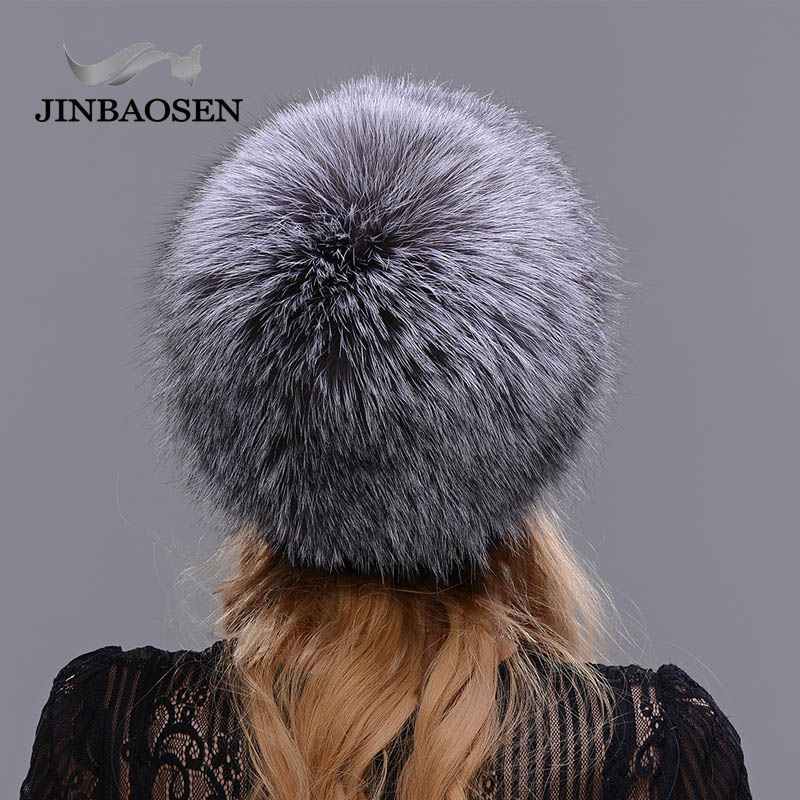 2018New mujeres invierno ruso piel moda piel real sombrero Piel de visón natural zorro tejido lana esquí sombrero caliente oreja protección de sombrero - 6
