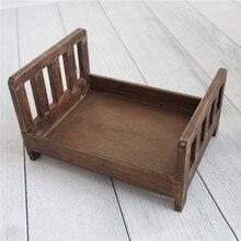 Accesorio de fotografía de cama rústica para recién nacido, hecha a mano cama de madera, accesorio de cuenco de Estilo Vintage para bebé