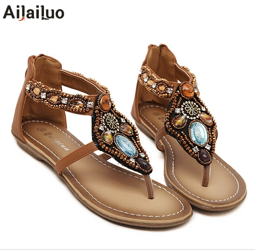 ad84def65 2019 Fashion Bohemia Style Vintage Women Shoes Woman Summer Sandals Open  Toe Flat Flip Flops New Arrivial Black Brown 3136
