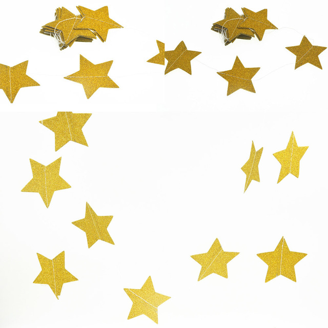 Vilead 2m golden star flag party decoration accessories paper vilead 2m golden star flag party decoration accessories paper garland wedding decoration childrens birthday decorative ornament junglespirit Images