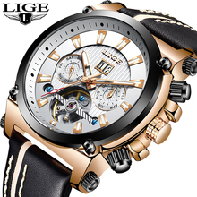 LIGE 2019 Men Business Leather Automatic Mechanical Watch Men Military Waterproof Clock Male Sport Mechanical Clock Reloj Hombre men watch top brand lige men waterproof sport mechanical watch men casual leather business wristwatch reloj automatico de hombre