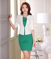 Formal Ladies Dress Suits For Women Business Suits Female Dress And Jacket Sets White Fashion Office