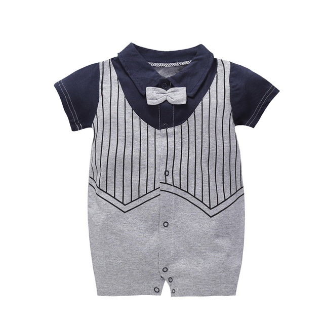 1def66c9da1c Summer Gentleman Clothes Baby Jumpsuit Cool Boys Fashion Rompers Short  Sleeves Black Baby Clothes Newborn Kids Rompers 1 Year