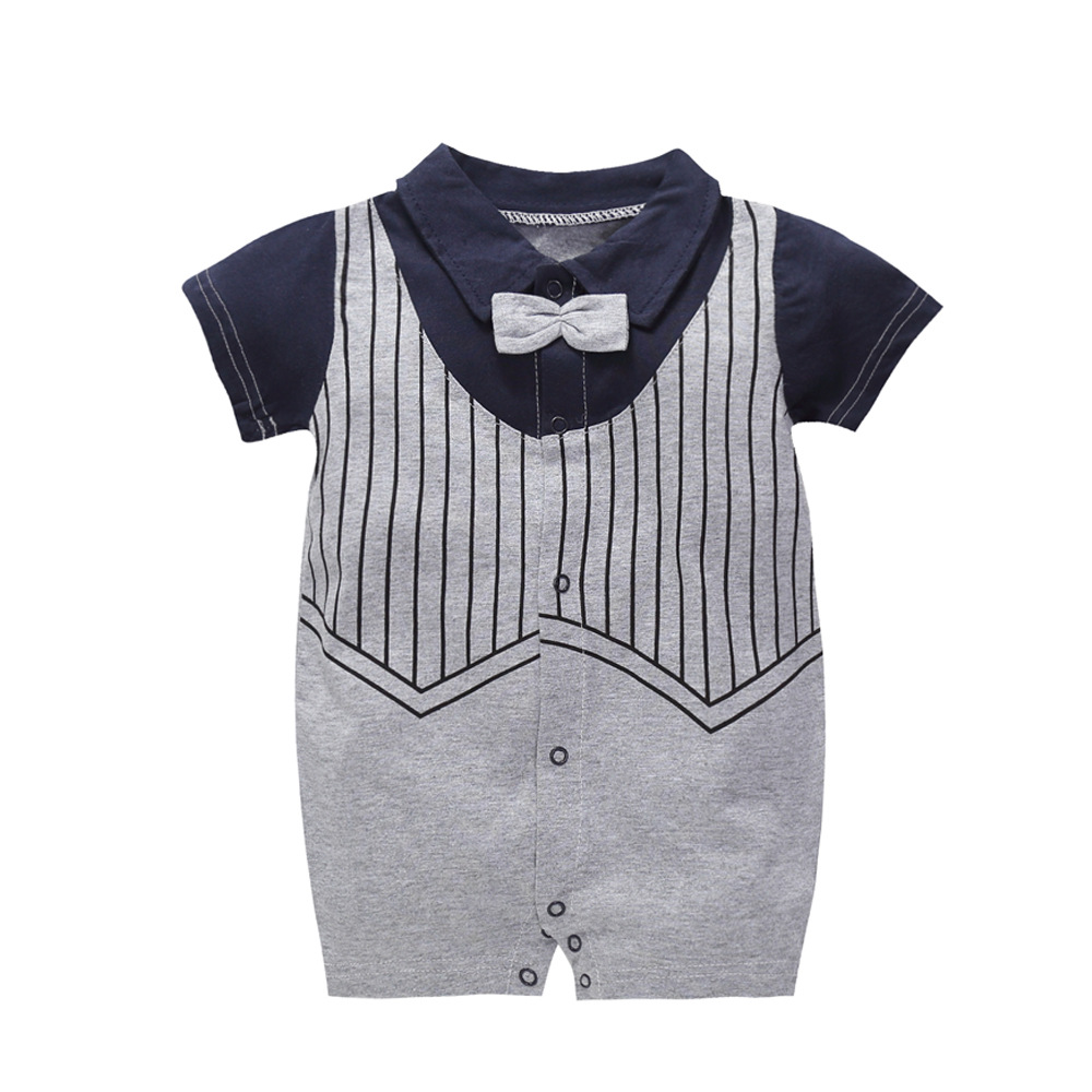Summer Gentleman Clothes Baby Jumpsuit Cool Boys Fashion Rompers Short Sleeves Black Baby Clothes New Born Kids Rompers 1 Year