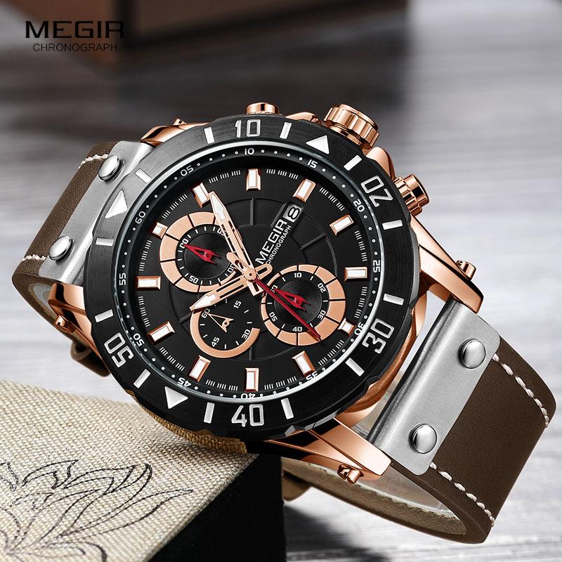 e4564722afa Megir Chronograph Luxo Ostenta Relógios de Quartzo Marrom Militar Do  Exército dos homens Relógio de Pulso para Homem Masculino Relogios Relojes  2081 Subiu