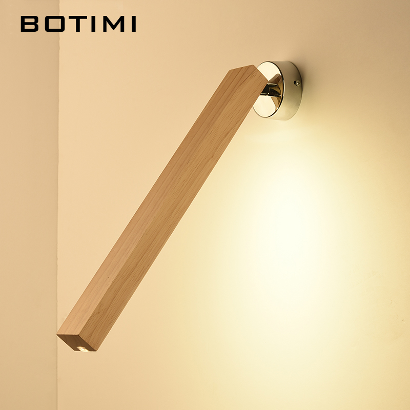 Botimi Creative Wall Lamp 220V Moderne Enkelt LED Soveværelse Sengelamper Nordic Wooden Hotel Reading Light Long Wood Wall sconce