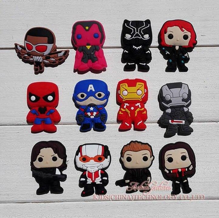Single Sale 1pc Avengers Shoe PVC Shoe Charms,Shoe Buckles Accessories Fit Bands Bracelets Croc JIBZ,Kids Party X-mas Gift
