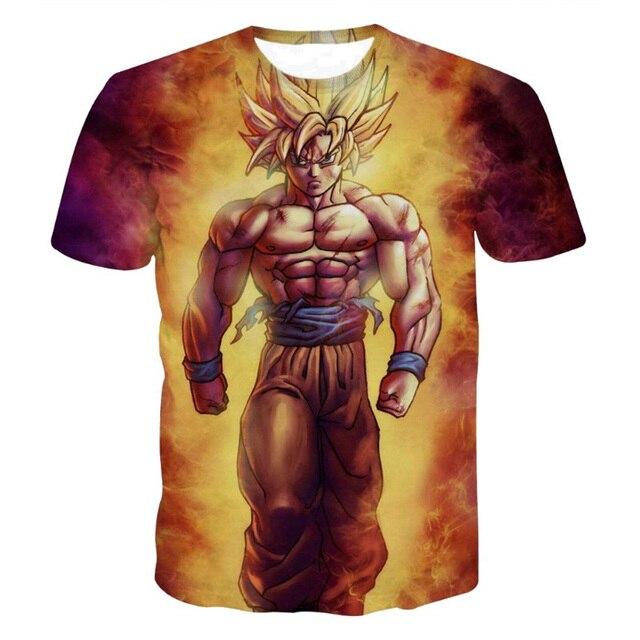 Dragon Ball Z T chemise Fils Goku Gohan Vegeta Majin Buu 3D Imprimé Hommes  D'été