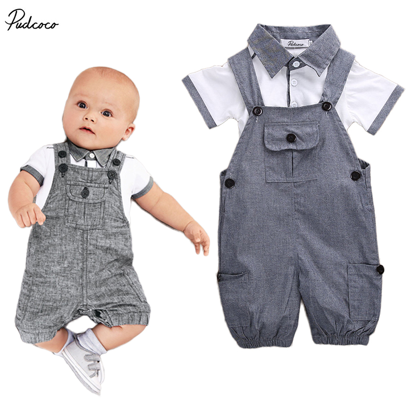 Infant Kids Baby Boys Clothes Shirt T-shirt+Braces Pants Outfit,2pcs Newborn Babies boy Summer t-shirt+Bib Outfits Set Clothing