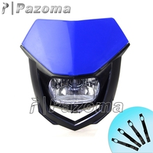 PAZOMA Blue Motocross Universal Head Lamp Lighting Enduro Dual Sport Dirt Bike Headlight Fairing for Yamaha YZ YZF WR WRF XT TTR