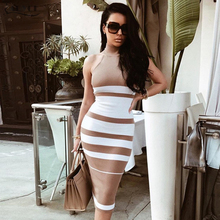 Nude and White Striped Club Dresses