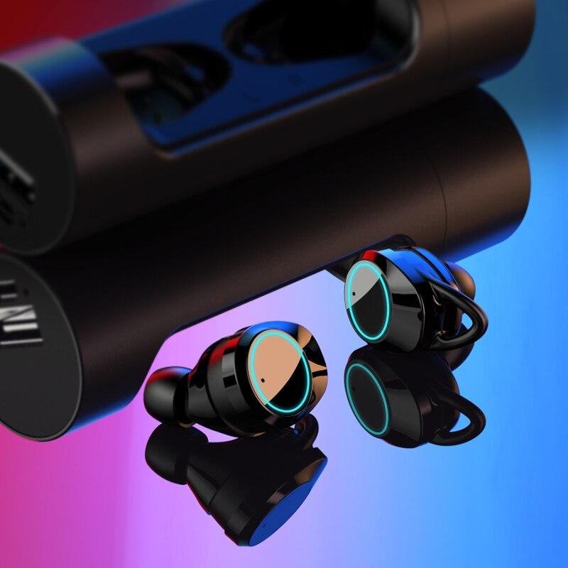 YTOM Mini Sans Fil Casque 3D son Avec Respiration lumière TWS Bluetooth 5.0 Écouteurs Casque avec micro Pour apple xiaomi huawei - 2