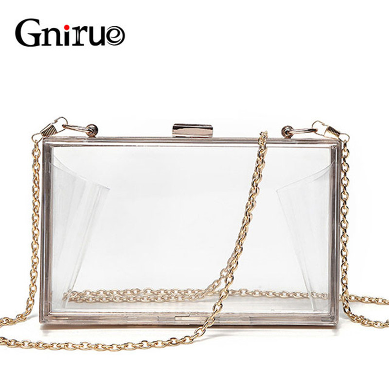 Acrylic Transparent Clutch Chain Box Women Shoulder Bags Hard Day Clutches Bags Wedding Party Evening Purse 5 Colors(China)