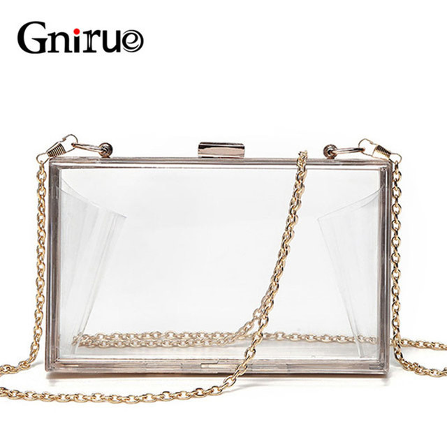 Acrylic Transparent Clutch Chain Box Women Shoulder Bags Hard Day Clutches Bags Wedding Party Evening Purse 5 Colors
