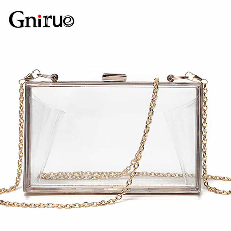 Acrylic Transparent Clutch Chain Box Women Shoulder Bags Hard Day Clutches  Bags Wedding Party Evening Purse 6c3991bcaac9