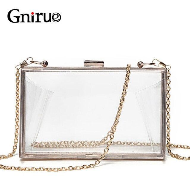 edcf58494083d0 Acrylic Transparent Clutch Chain Box Women Shoulder Bags Hard Day Clutches  Bags Wedding Party Evening Purse