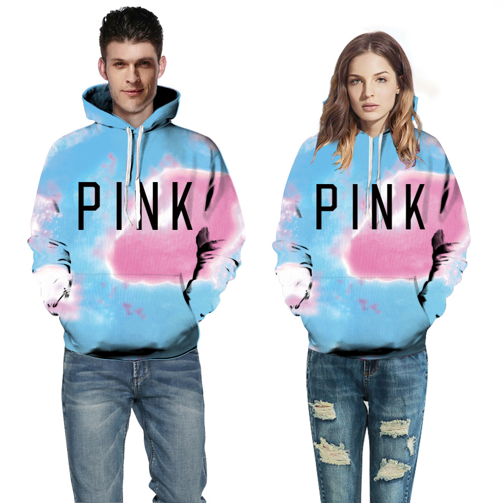 2018 New Men/Womens Casual Lovers Sweatshirt PINK Letter Printed Couple Hoodies Fashion Tops Cotton Sweat shirt Hooded Pullover