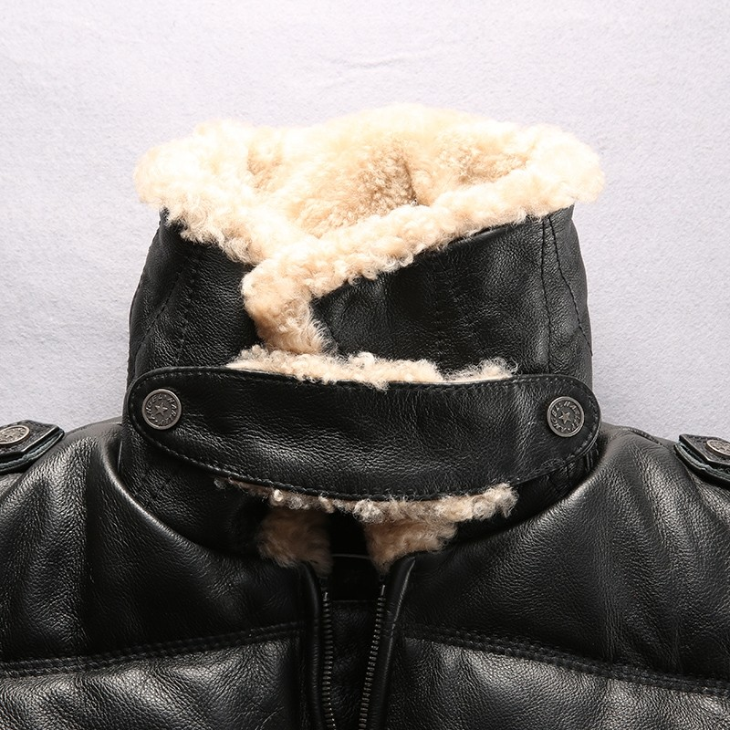 Lamb Fur Collar Genuine Leather Jackets Motorcycle Riding Sheepskin Real Leather Down Jacket Men Winter Fashion Luxury Coat Male