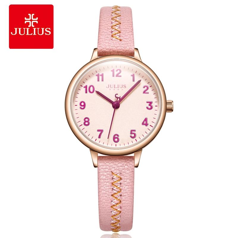 2018 neue Uhr Julius Junges Mädchen Rosa Lederband Uhr Damen Arabisch Index Top Casual frauen Einfache Designer Montre JA 1073-in Damenuhren aus Uhren bei  Gruppe 1