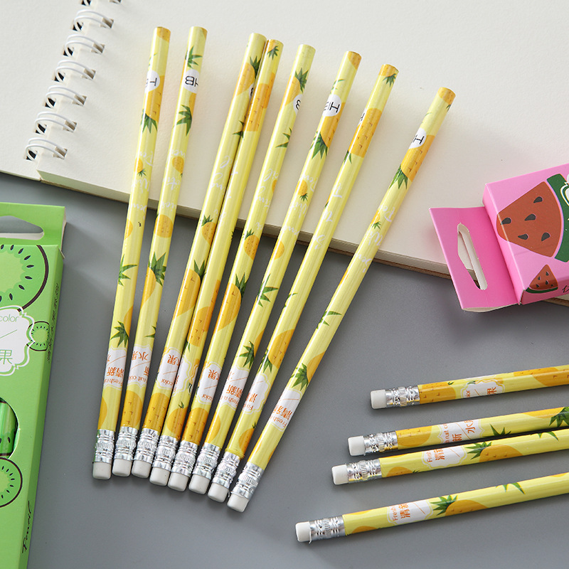 12 pcs/box Creative Fresh Fruit Pencil with Eraser for School Student HB Black Pencils Kids Writing Stationery Gift Supplies