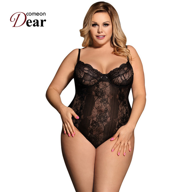 Comeondear Lace Body Bustier Combinaison Femme Lace Floral Jumpsuit Romper Plus Size Overall Summer Women Sheer Bodysuit RK80536