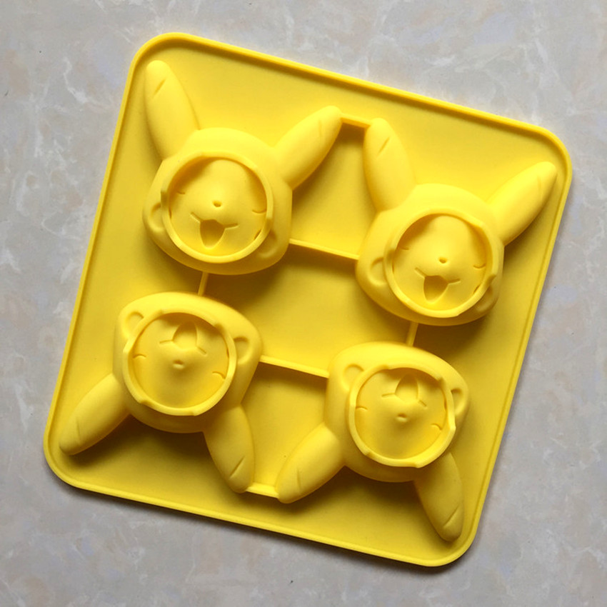 4 Holes Cartoon Pikachu Silicone Cake Mold Cookie Candy Confectionery Pudding Mould Pokemon Series Kitchen Baking Tools GJD080 image