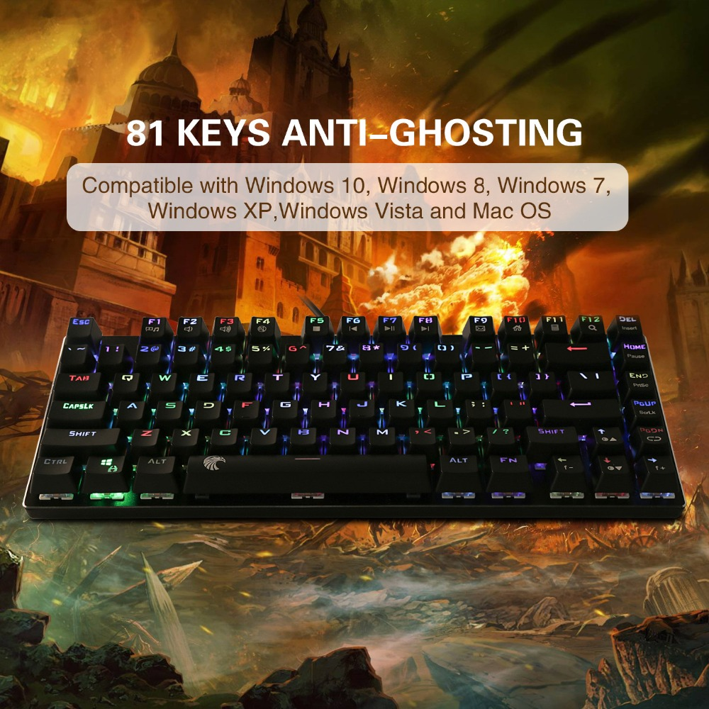 355282dc556 Z88 RGB Backlit Small Mechanical Keyboard Outemu Switches Tenkeyless No  Number Pad 81 Keys Mini Gaming Keyboard for Typist Gamer-in Keyboards from  Computer ...