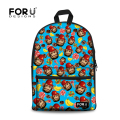 Cute Teenager Girls School Bag Cute Animal Monkey Printing School Book Bag for Women Casual Student Children Cotton Schoolbag