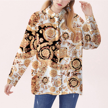 Classical Luxury Palace Crown Print Shirt Women Brand New Dress Shirts Casual Business Slim Fit Long Sleeve Womens M-XXL