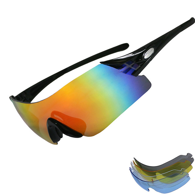 f801f9eeb7cc9 Polarized Cycling Glasses UV400 Sport Sunglasses 5 Lens Bike Mountain MTB Eyewear  Men Ms Fishing Sun Glasses Motocross Goggles