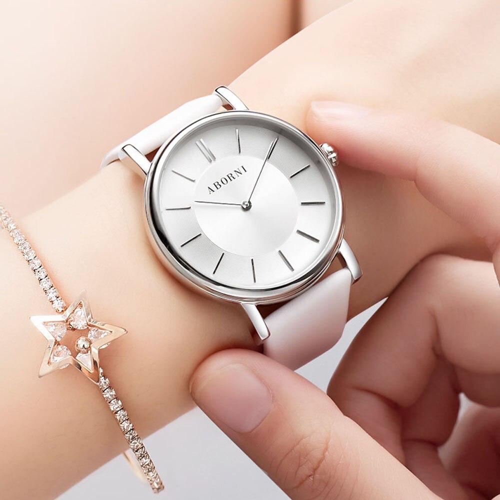 ABORNI 2019 Luxe Vrouwen Horloges Armband Eenvoudige Klok Mechanische Automatische Self Wind Dames Vrouwelijke Casual Horloge voor meisje-in Dameshorloges van Horloges op  Groep 1
