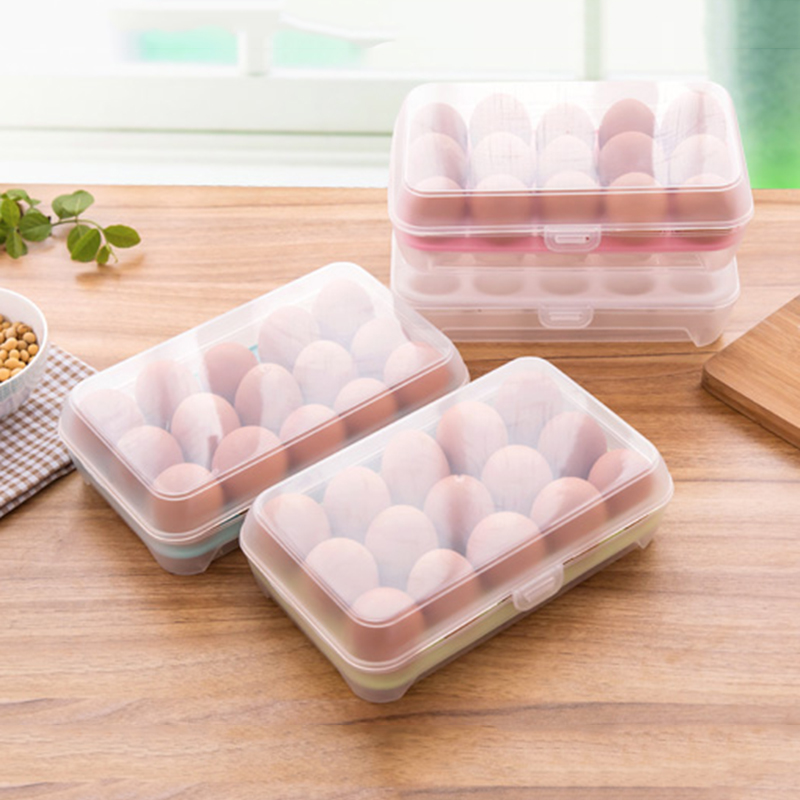 Can Be Stacked Refrigerator Egg Storage Box 15 Eggs Care Kitchen With A Dust-Proof Food Storage Box