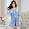 New Style 2016 Women Trench Coat  Long Sleeve Letter Ripped Denim  Frayed Plus Size S-4XL  Women O-Neck Outwear  Coat C222