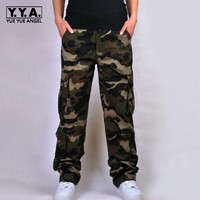 High Quality New Fashion Mens Cotton Camouflage Casual Loose Military Pockets Cargo Pants For Man Plus Size Army Green Pant