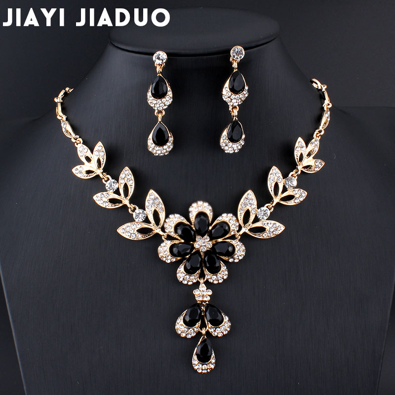 Us 4 37 33 Off Jiayijiaduo Hot African Female Costume Jewelry Set For Women Gold Color Black Red Golde Necklace Earrings Wedding In Bridal