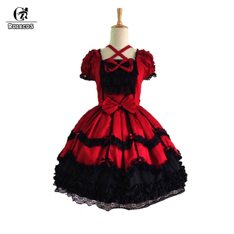 ROLECOS classique rouge et noir gothique Lolita robe femmes Cosplay robe de soirée Vintage à manches courtes robe pour les filles avec nœud papillon