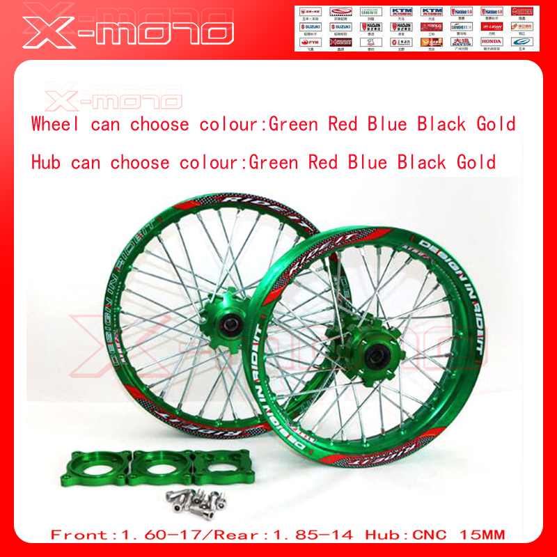 15mm Front 1.60-17 Rear 1.85-14 Alloy Wheel Rim with CNC Hub For KLX110cc TTR125CC Dirt Bike Pit bike 14 17 ihch Green wheel front 1 60 17 rear 1 85 14 inch alloy wheel rim with cnc hub for kayo hr 160cc ty150cc dirt pit bike 14 17 inch motorcycle wheel