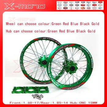 """15mm Front 1.60-17"""" Rear 1.85-14"""" Alloy Wheel Rim with CNC Hub For KLX110cc TTR125CC Dirt Bike Pit bike 14 17 ihch Green wheel"""