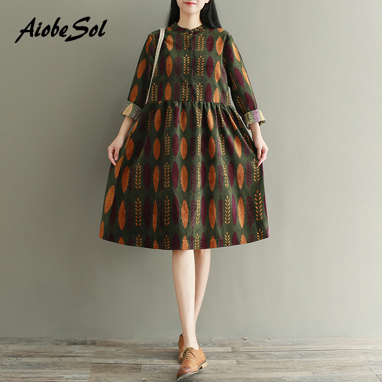 2017 Spring Autumn Women Clothing Preppy Vintage Printed Long Sleeve Single Breasted Midi Plus Size Corduroy Dress Mori Girl