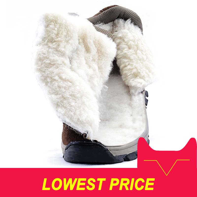 Men boots 2018 winter genuine leather shoes warm thick wool men ankle snow boots non slip