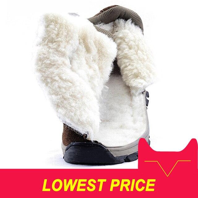Uomini stivali 2018 di inverno del cuoio genuino scarpe caldo di spessore di lana degli uomini della caviglia stivali da neve antiscivolo stivali invernali per -40 gradi