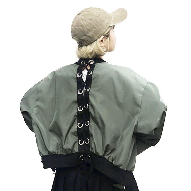 2017 Autumn's New Korean Women Loose Personality Back Bandage Jackets Harajuku Baseball Uniform Ring Zipper Shorts Jacket